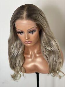 Ash Blonde Genuine Virgin Human Hair 18inch Lace Closure 5x5 Wig Wavy Straight