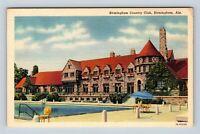 Birmingham AL, Country Club, Pool, Linen Alabama c1940 Postcard Z35