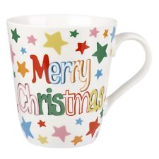 New Cath Kidston Merry Christmas White Stars Mug - 500ml Fine China - Gift Boxed