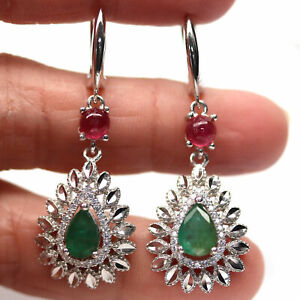 NATURAL 6 X 8 mm. GREEN EMERALD, RUBY & CZ 925 STERLING SILVER EARRINGS