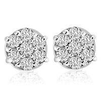 1/4cttw Diamond Cluster Screw Back Studs in 10k White Gold Womens Earrings