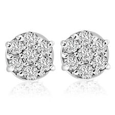 1/4cttw Diamond Cluster Screw Back Studs in 10k White Gold Womens Earrings