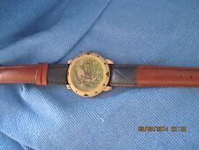 VINTAGE EXCELLENT MEN'S CARDIN Golf Player Face w/ Leather Watch ...1993..#7039