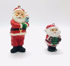 Vintage Set of 2 Santa Christmas Ornaments ~ Wreath Bird Hong Kong