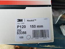 3M P120 GRIT DISCS HOOKIT SANDING DISC 150MM PACK OF 100 SAND PAPER