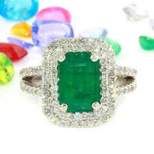 2.60 Carat Natural Emerald 14K Solid White Gold Diamond Ring