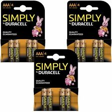 12 x DURACELL SIMPLY AAA 1.5 V pacco batterie alcaline LR03 MN2400 potenza durevole