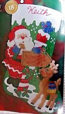 "Bucilla Christmas Stocking NORTH POLE Felt Kit  18"" Maria Stanziani"