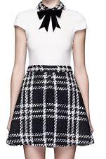 Alice + Olivia Gail Bow Collar Dress Check Tweed Wool Black Plaid Size 0 NWOT