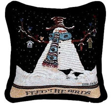 Feed The Birds Mr. Snowman Tapestry Square Pillow