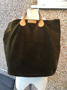 G. H Bass & Co Large genuine dark olive green suede leather tote