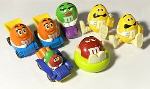 Vintage M&M Candy Dispensers & Figures BURGER KING KIDS MEAL Mixed Lot of 7 Toys