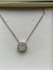 Rose Gold Plated Sterling Silver Necklace With Crystal Disc - Not boxed