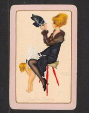 "Single Vintage Playing Card "" Cupid in Bondage "" Pretty Girl by Raphael Kirchner"