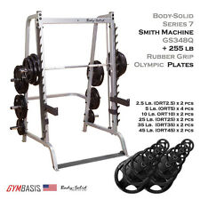 2017 NEW BodySolid Series 7 Smith Machine GS348Q + 255 lb Rubber Olympic Set