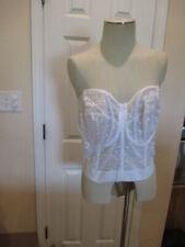 Goddess Women's 40FF Bustier white Bra Underwire Lace-Trim NWT shoulder straps