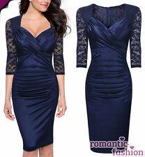 ♥Größe 34 Abendkleid Cocktailkleid Etuikleid in Blau+NEU+SOFORT+B628♥