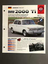 """1966 - 1972 BMW 2002 Ti Coupe IMP """"Hot Cars"""" Spec Sheet Folder Brochure Awesome"""