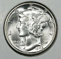 1942 P Mercury Dime Brilliant Uncirculated 90% Silver Coin Gem BU FB Full Bands