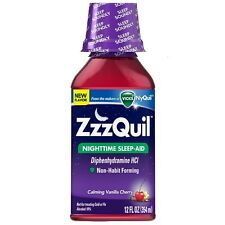ZzzQuil Nighttime Sleep-Aid, Calming Vanilla Cherry 12 oz (Pack of 5)