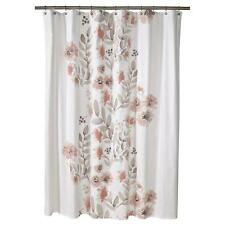 "Threshold  CORAL WATERCOLOR Fabric Shower Curtain FLORAL NEW 72 X 72"" TARGET"