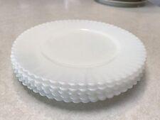 """Macbeth Evans  Opalescent Translucent White Milk Glass Dessert  Plates 8"""""""