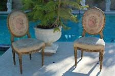 Pair of French Louis XVI Style Carved Wood Gold Gilt  Occasional Accent Chair