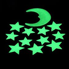 12 Pcs Stars Moon Glow In The Dark Fluorescent Plastic Wall Sticker Home Decor