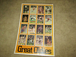 SUPER RARE GREAT OLDIES SPORTS POSTER MANTLE,KOUFAX, UNITAS, WEST, HULL 24 X 36