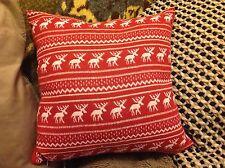 Fair Isle Christmas cushion, reindeer, red and white, NEW