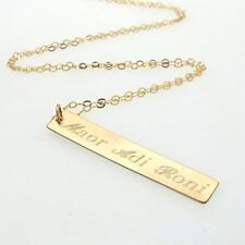 Gold Filled Layering Necklace for Mom - Gold Children Names Bar Drop Pendant