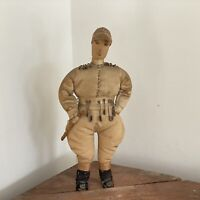 Rare Antique Primitive Horse Racing Jockey Doll In Silks