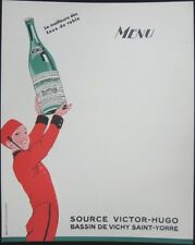 1930 Large French Advertising Menu: Mineral Water/Eaux: Vichy Saint-Yorre