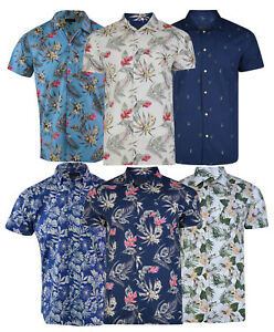 Mens Premium Fashion Hawaiian Floral Shirt Short Sleeve Casual 100% Cotton S-XXL