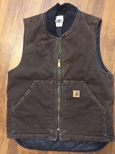 Carhartt Quilted Men's Vest Medium Dark Brown V02