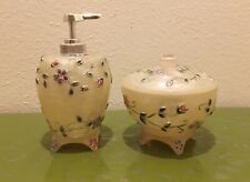 Soap Dispenser And Cotton Ball JarSet White W/ Purple Pink Flowers Never Used