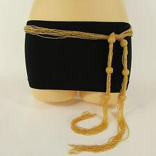 New women tie fashion belt gold brown long beads hip waist wrap around S M L