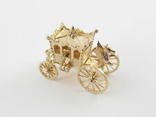 Vintage 14 K Yellow Gold 3D Moveable Royal Horse & Carriage Slipper Charm opens