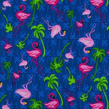 BLUE FLAMINGO TROPICS - Tropical Flamingo and Palm Tree Fabric - Blue