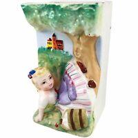 Girl Falling Down Bucket Of Apples Wall Pocket Planter Hand Painted Ceramic Vtg