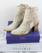 RUSSELL & BROMLEY Stuart Weitzman Cream Snakeskin Leather Boots, Size UK 7.5