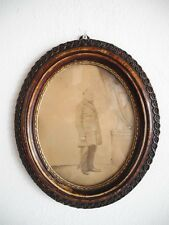 alte ovaler Portrait-Bilder-Rahmen Biedermeier Falzmaß  17,4 x 21,5 cm (34)