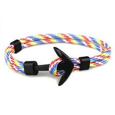 Handmade Men's Black Alloy Anchor Polyester Rope Wristband Bracelet Jewelry