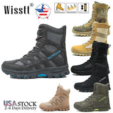 Wisstt Mens Military Tactical Hiking Boots Army Security Waterproof Desert Shoes