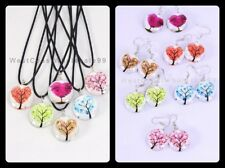 12 PC Tree of Life Double Sided Glass Fashion Necklace/Earrings Wholesale - USA