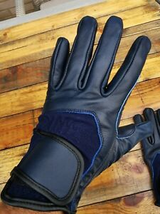 Full Leather Riding Gloves Blue Medium