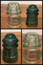2 GLASS INSULATORS Hemingway Blue Clear No 9 & 16 Telephone Pole May 2, 1898