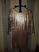Tobi Gold Sequin Bodycon Dress M NWT