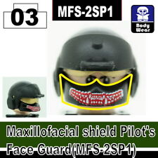 Black Maxillofacial face shield RED for LEGO army military brick minifigures