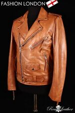 Mens BRANDO SLIM-FIT Leather Jacket Tan Wax Lambskin Smart Bikers Leather Jacket